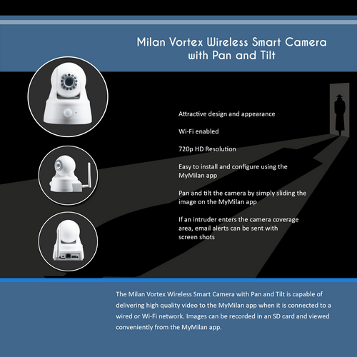 Milan Vortex Wireless Smart Camera with Pan and Tilt