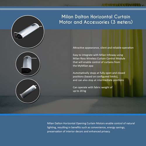 Milan Dalton Horizontal Curtain Motor(3 meters)
