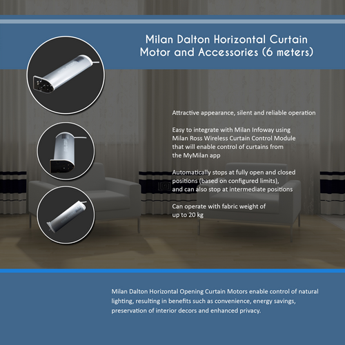 Milan Dalton Horizontal Curtain Motor(6 meters)