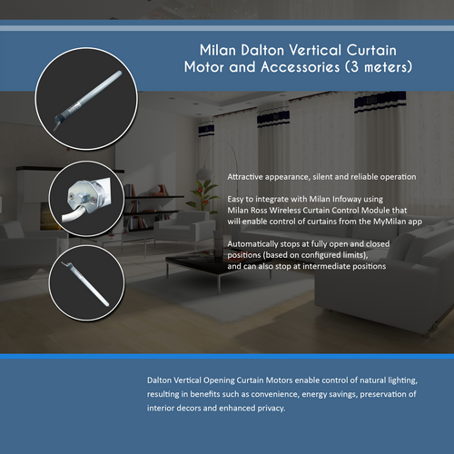 Milan Dalton Vertical Curtain Motor(3 meters)